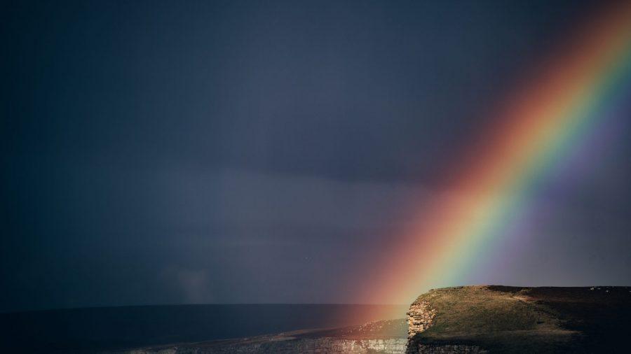rainbow with dark sky
